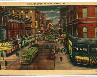 Granby Street at Night Norfolk Virginia 1946 linen postcard