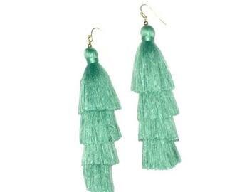 Sea Foam Silk Tiered Tassels stacked drop earring