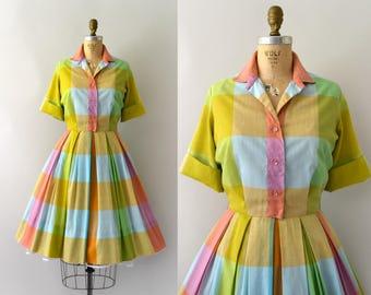 Vintage 1950s Dress - 50s Colorful Check Shirtwaist Dress
