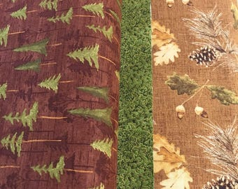 "Reserved for Nina-Pine Trees Quilted Table Runner, Pine Cone Reversible, 14 x 78"" 100% cotton fabrics"
