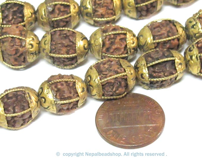 4 Beads - Nepal brass capped rudraksha mala making beads melon grooved design bead - NB057C- copyright Nepalbeadshop