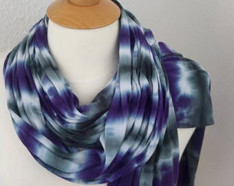 Charcoal and Purple Stripe Scarf