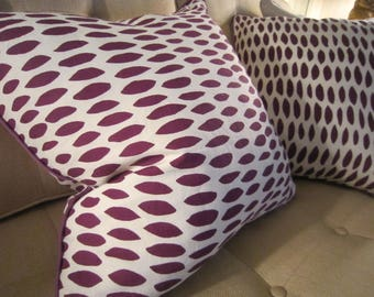 PIERRE FREY Linen Purple and Cream 20 x 20 Pillow Cover Purple Piping Matched Pair So Chic!