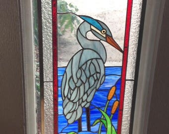 Blue Heron in Stained Glass