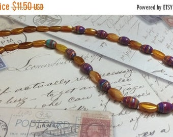 ON SALE 50% OFF BoHo Swirled Bead Necklace - Gold and Rust Beaded Necklace - Photo Prop -  Upcycled  and Repurposed Jewelry - R84