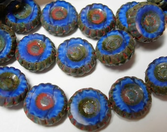 15 12mm Czech Glass Cobalt Blue w/ reddish Picasso Picasso Daisy Flower Coin Beads
