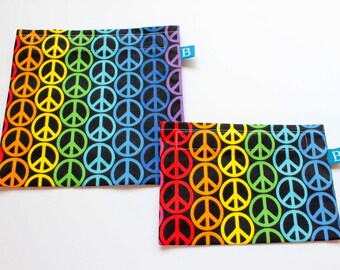Reuseable Eco-Friendly Set of Snack and Sandwich Bags in Rainbow Peace Signs Fabric