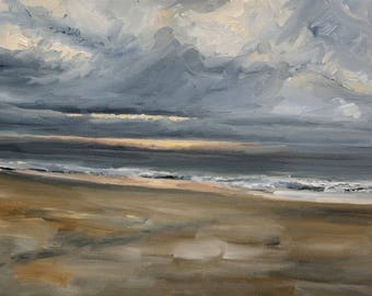 Original Oil Painting Sea Sky scape dark sky light spot on sea 30 x 40 cm, 9 x 12 inches