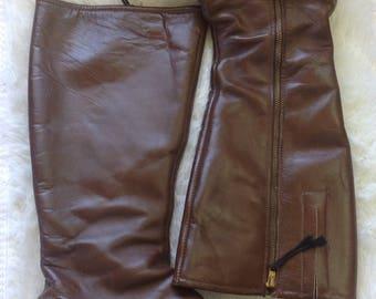 Vintage 60s Boho Hippie Style Mid Calf Boots Block Heel Ladies 9M