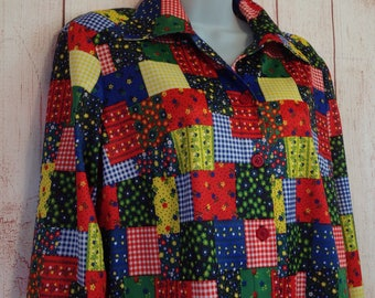 Vintage 70s Quilt Print Long Sleeve Button Down Polyester Boho Style Shirt Ladies L