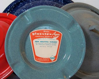 Graniteware Ashtray Vintage Unused Glasstex Aqua Label Moore Enamelware Memco Ohio