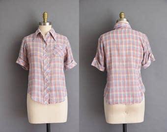 vintage 1960s blouse. 60s plaid button up blouse