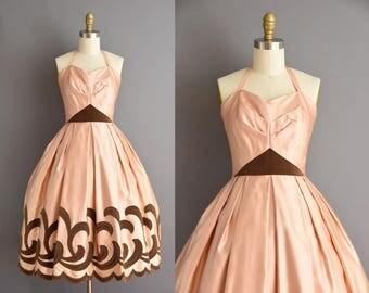 50s gorgeous blush champagne satin halter vintage bridal party dress. 1950s vintage dress