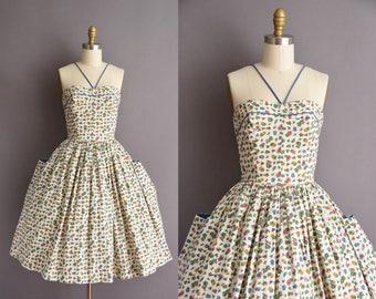 ON LAYAWAY...50s Alice Of California white cotton full skirt floral print sun dress Vintage 1950s  Small Summer Sun dress