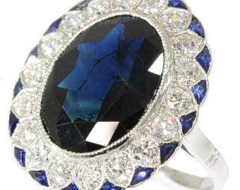 Large natural dark blue sapphire ring platinum old European cut diamonds 1.08ct Art Deco French engagement ring 1920s jewelry