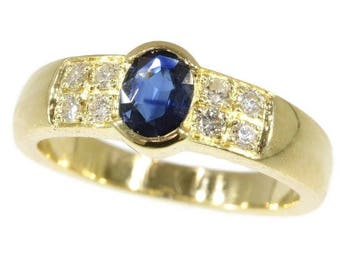 Sapphire ring, natural sapphire, blue sapphire ring, vintage ring, engagement ring, sapphire ring gold, sapphire diamond ring, French ring