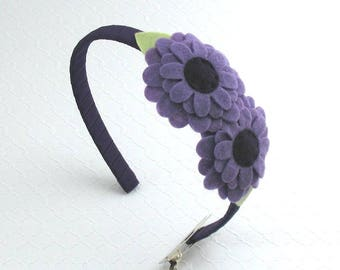 Purple Toddler Headband, Girls Headband, Felt Flower Headband, Purple Headband, Purple Flower Headband