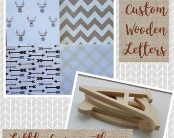 Woodland Wood Nursery Letters, Boys Room Decor, Little Arrow Theme, Deer and Arrows, Chevron and Forest, Neutral Browns, Tribal, Kids room