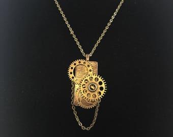 Gears Jewelry, Gears pendant, Gears necklace, Steampunk Pendant, Steampunk Necklace , Steampunk Jewelry, HandPainted Jewelry,