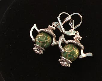 Tea Pot earrings, pair, Green design beads with and silver findings, TEA POTS pair of leverback earrings, GIFT