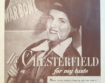 1943 Chesterfield Cigarettes Print Ad