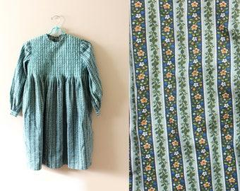 vintage girls dress 60's handmade folk floral print blue turquoise handmade 1960's clothing
