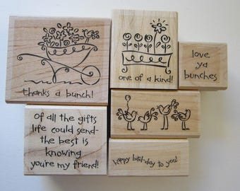6 rubber stamps - Love Ya Bunches - Stampin Up 2005