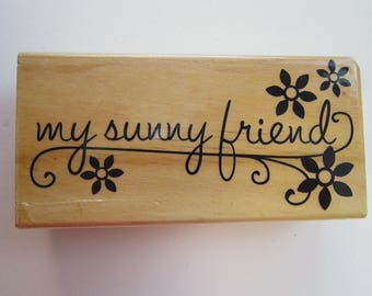 rubber stamp - my sunny friend - flower stamp - used rubber stamp