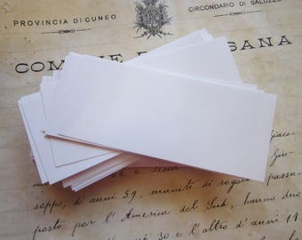 "100 vintage blank mini flash cards - 1.5"" x 3.5"" inches - WHITE"