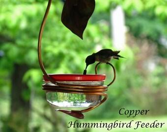 Hummingbird Feeder Single Port, Copper Garden Art, Glass Hummingbird Feeder, Unique Bird Feeder, Copper Bird Feeder, Garden Decor