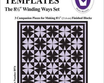 """Perfect Patchwork Template-Winding Ways 8.5"""" 3/Pkg by Marti Michell Quiltsy Destash Party"""