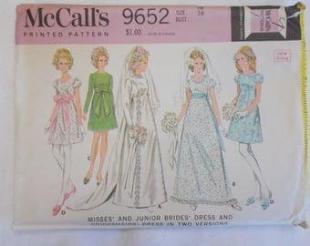 McCalls 9652, Vintage Wedding Dress Pattern, Vintage Size 16 Wedding Gown Pattern, Bride and Bridesmaid Pattern