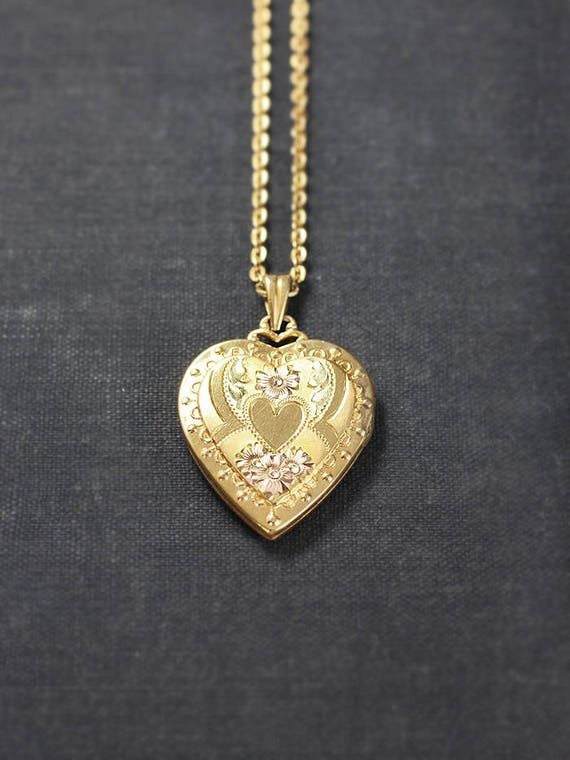 Gold Filled Heart Locket Necklace, Classic Hayward Vintage Pendant with Original Bail and Special Chain - Classic Heart