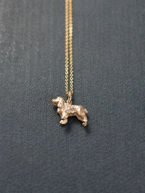 Small 9ct Gold Cocker Spaniel Dog Charm Necklace, Solid 9 Karat Gold Hallmarked Pendant - Best Friend