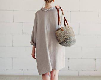 Natural Grey Linen Dress Long Sleeves