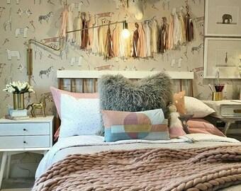 Chunky Knit Blanket Dusky Pink