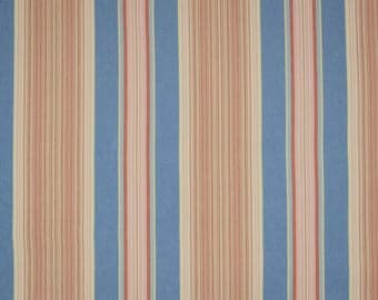 Pink Blue Red Striped Fabric