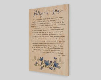 Resting in Him, Wood Print, Wood Sign, Rustic Wood Sign, Sympathy, Comfort, Grief, Loss, Heaven, Religious, Inspirational Print