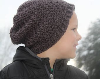 Ready to ship Crochet textured slouchy beanie, charcoal size 2T-4T