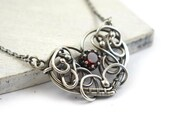 Garnet necklace, wire wrap necklace, heart pendant, sterling silver necklace