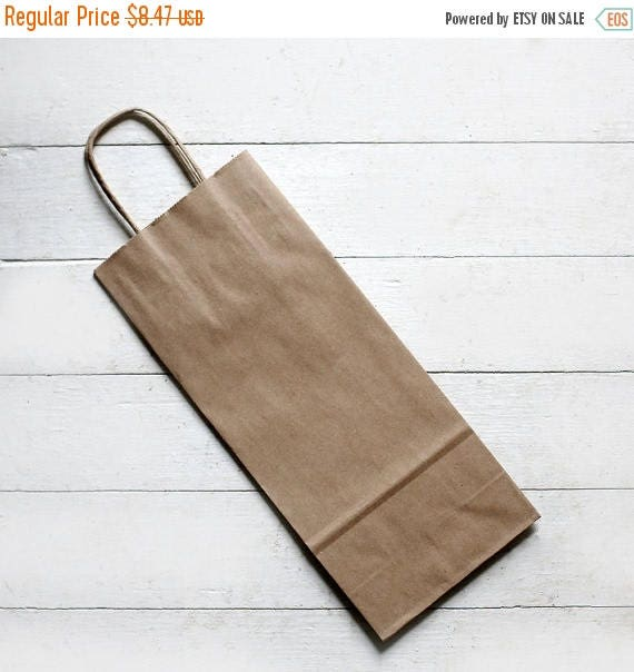 ON SALE 10- Recycled Kraft Handle Bags (Fits Wine Bottle) 5-1/2 x 3-1/4 x 13  inches    Rustic Wedding Favor Bags, Candy Bags, Wine Bags