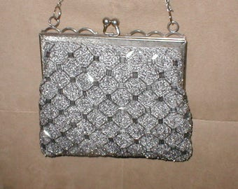 Vintage Pewter Gray Beaded Evening Bag Purse