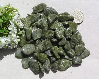 20 Small Green Epidote Crystal Tumblestones, Crystal Collection, Green Crystals, Chakra Crystals, Crystal Collection, Meditation Stones