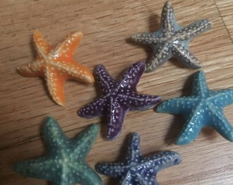 Purple ceramic starfish pin