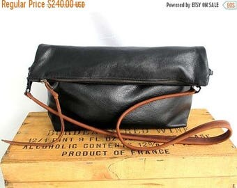 summer sale black leather bag . large leather clutch. cross body tote. black leather hobo bag