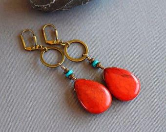 Red Coral Teardrop Earrings Turquoise Earrings Coral Earrings Red Dangle Earrings Red Earrings Brass Drops Bohemian Big Chunky Coral Jewelry