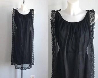 Vintage Black Chiffon Nightgown, 1960s Chiffon Nightgown, Vintage Black Nightgown, Vintage Nightgown
