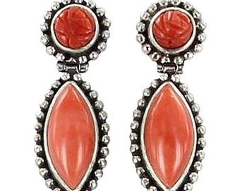 Summer Sale : ) Coral Sterling Silver Earrings Carved