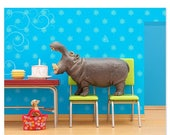 30% OFF SALE Hippo animal art print: Hungry, Hungry Hippo
