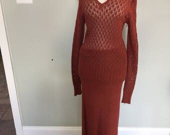 Vintage 1930's Hand-knitted Sweater & Skirt Set